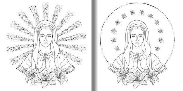 Virgen maría rezando con estampado de lirios