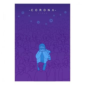 El virus corona está en todas partes concepto de póster. personas infectadas mezcladas con multitudes de personas. personas con mascarilla médica.