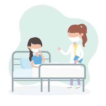 Virus covid 19 cuarentena, mujer con máscara en cama médico del hospital