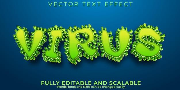 Virus covid efecto de texto bacterias editables y estilo de texto de gripe