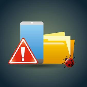 Virus de datos de error virus alerta de seguridad cibernética
