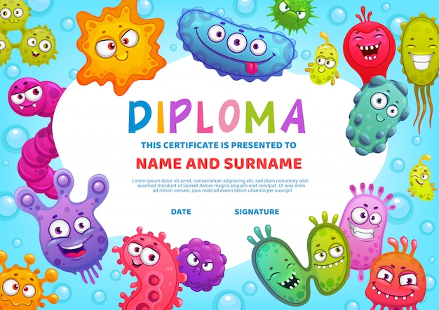 Virus de diploma de educación escolar o jardín de infancia