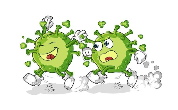 Virus jugar persecución de dibujos animados. mascota de dibujos animados