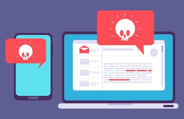 Virus en laptop y teléfono
