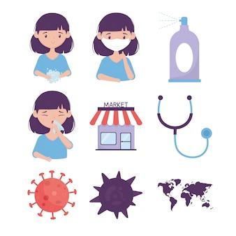 Virus prevención de coronavirus, máscara de niña, tos, lavado de manos, estetoscopio de mercado, iconos del mapa mundial