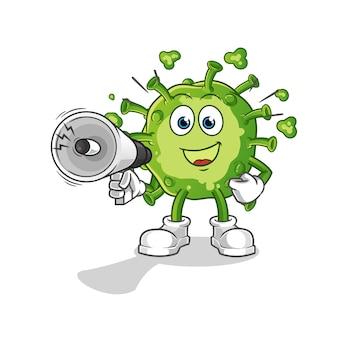 Virus sosteniendo altavoces de mano
