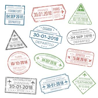 Visa pasaporte estampilla para viaje.
