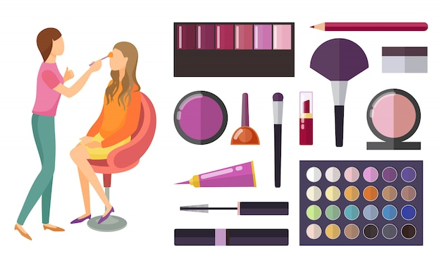 Visage and makeup making beauty cosmetics