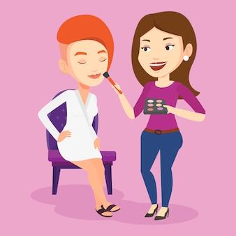 Visagiste haciendo maquillaje a joven elegante.