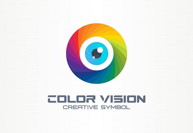 Visión en color, concepto de símbolo creativo de ojo de círculo. colorido lente de iris, seguridad, arco iris resumen idea de logotipo de empresa. foco, icono de espectro