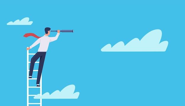 Visión empresarial. empresario de dibujos animados se encuentra en la escalera en las nubes con telescopio, liderazgo, símbolo de ambición y éxito, nueva idea y concepto de vector de carrera