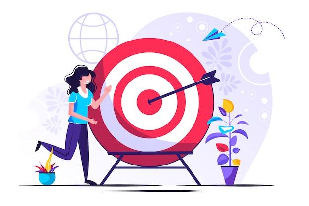 Visión empresarial, gran objetivo con mujer, trabajo en equipo