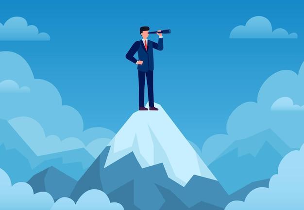 Visión empresarial. hombre de negocios en la cima de la montaña con telescopio buscando una nueva idea, inicio de negocios, pronóstico visionario, concepto de vector de éxito. visión de empresario en telescopio, ilustración de pico de éxito
