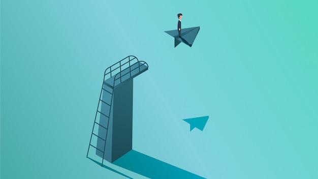 Visión empresarial y la ilustración del concepto de solución.