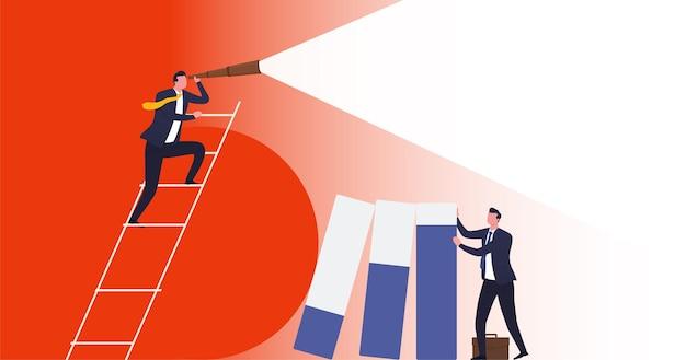 Visión empresarial, protección de riesgos empresariales. el empresario tiene columnas de gráficos que han caído como resultado de la crisis, la economía inestable.