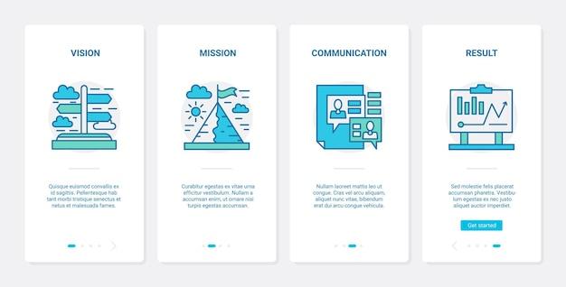 Visión empresarial de resultado, misión y estrategia de liderazgo