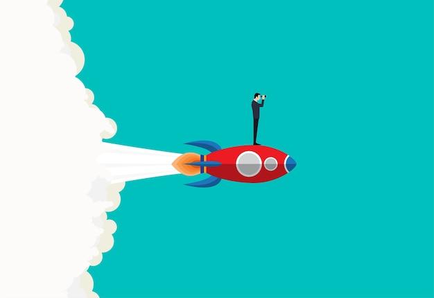 Visión del hombre de negocios en un cohete