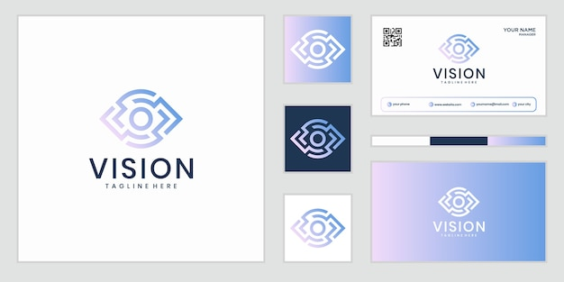 Visión. logotipo de ojo. señal de control de video. solución empresarial inteligente.