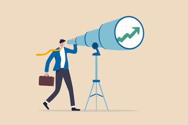 Visión de negocio e inversión para anticipar el rendimiento futuro o la capacidad de ver oportunidades de trabajo y concepto de carrera.