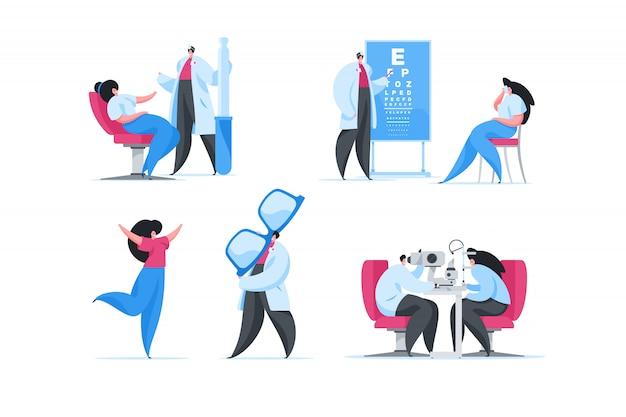 Visita en clínica de oftalmología moderna. conjunto de ilustraciones