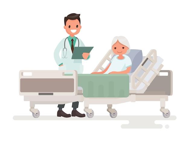 Visita del médico a la sala del paciente anciana acostada en una cama médica