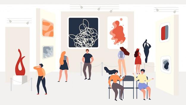 Visitando la exposición de arte abstracto moderno en la galería