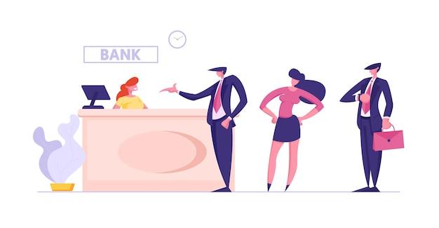Visitantes y empleados en la oficina del banco acceso público a los servicios financieros