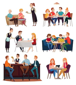 Visitantes de restaurantes y pubs con comida y bebida.