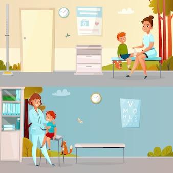 Visitas infantiles doctor banners de dibujos animados