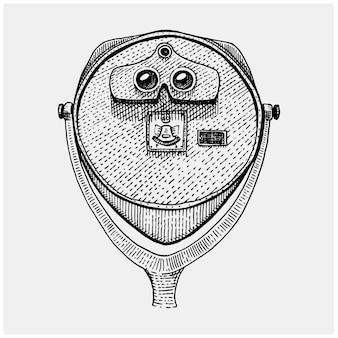 Visor de monedas con torre binocular, catalejo vintage, grabado a mano grabado en boceto o estilo de corte de madera