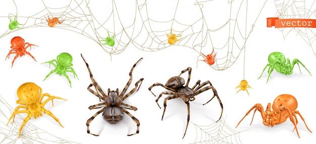 Víspera de todos los santos. arañas rojas, amarillas y verdes. conjunto de vectores realistas 3d