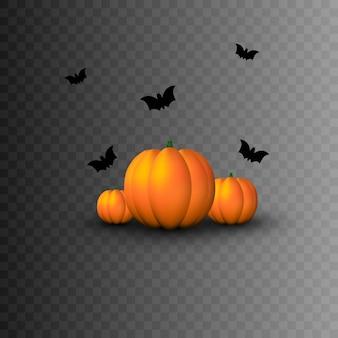 Víspera de todos los santos. elementos decorativos para la fiesta de halloween. calabaza, murciélagos.