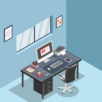 Vista 3d del lugar de trabajo de la computadora con impresora, teléfono inteligente, tableta y libros.