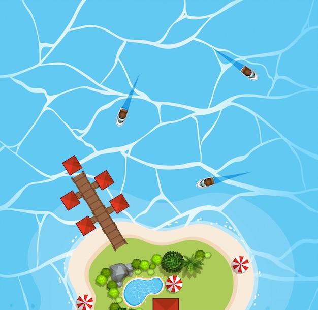 Vista aérea de barcos en el océano