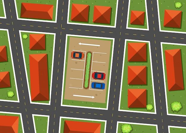 Vista aérea del barrio con casas.