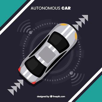 Vista aérea de coche autónomo futurista con diseño plano