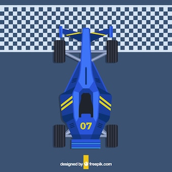 Vista aérea de coche de fórmula 1 de diseño plano en la línea de meta
