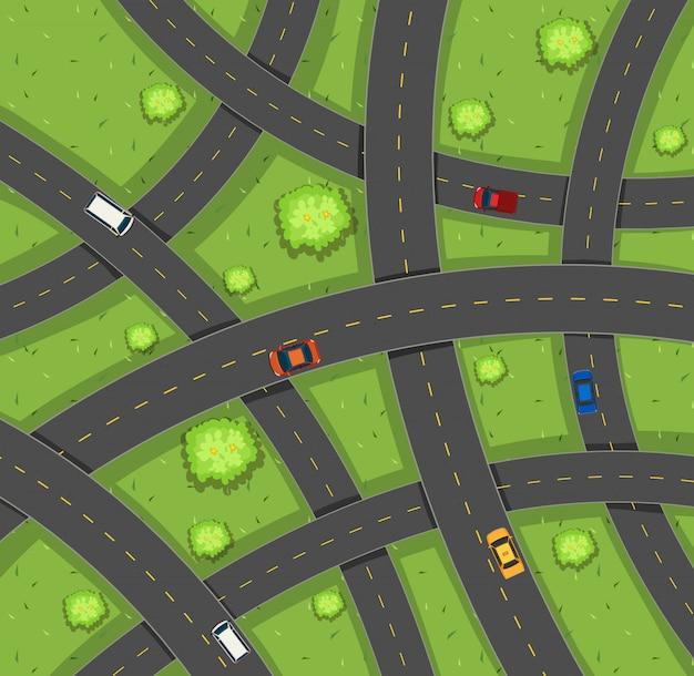 Vista aérea de coches en carretera.