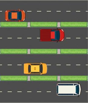 Vista aérea de los coches en las carreteras.
