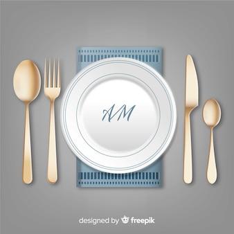 Vista aérea de cubertería de restaurante con diseño realista