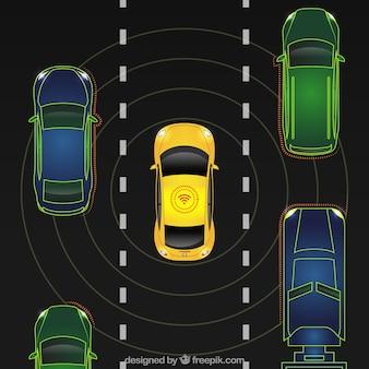 Vista aérea de coche autónomo con diseño plano