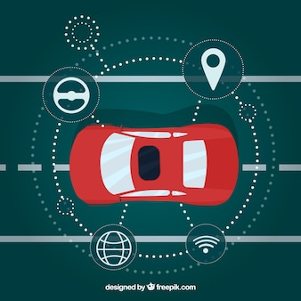 Vista aérea de coche autónomo moderno