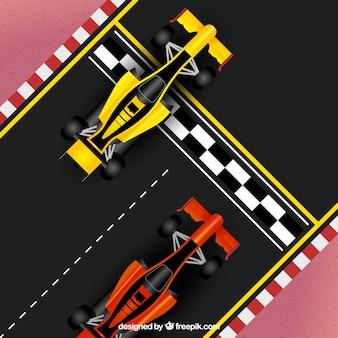 Vista aérea de coche de fórmula 1 realista en la línea de meta