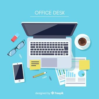 Vista aérea de escritorio de oficina moderno