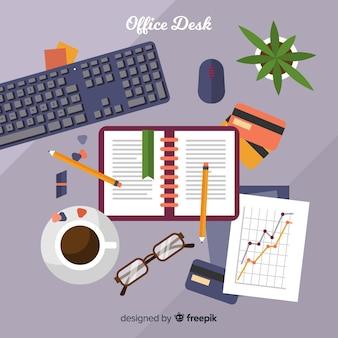 Vista aérea de escritorio de oficina profesional con diseño plano