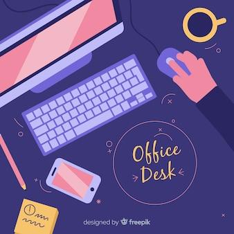 Vista aérea de escritorio de oficina profesional