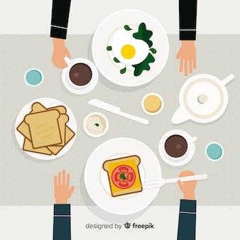 Vista aérea de mesa de restaurante dibujada a mano