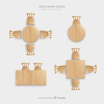 Vista aérea de mesas de restaurante vacías con diseño realista