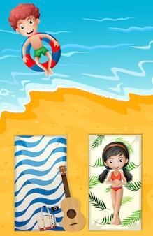 Una vista aérea de la playa de verano