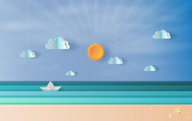 Vista al mar con un velero flotante en el cielo azul